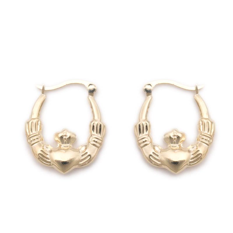 9k yellow gold claddagh hoop earrings jewelsmith
