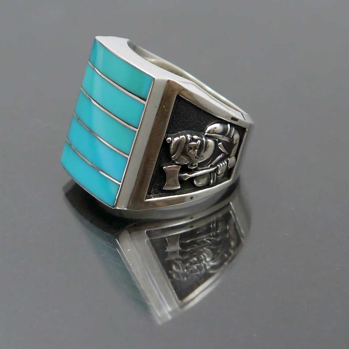 sterling silver turquoise class ring nau jewelsmith