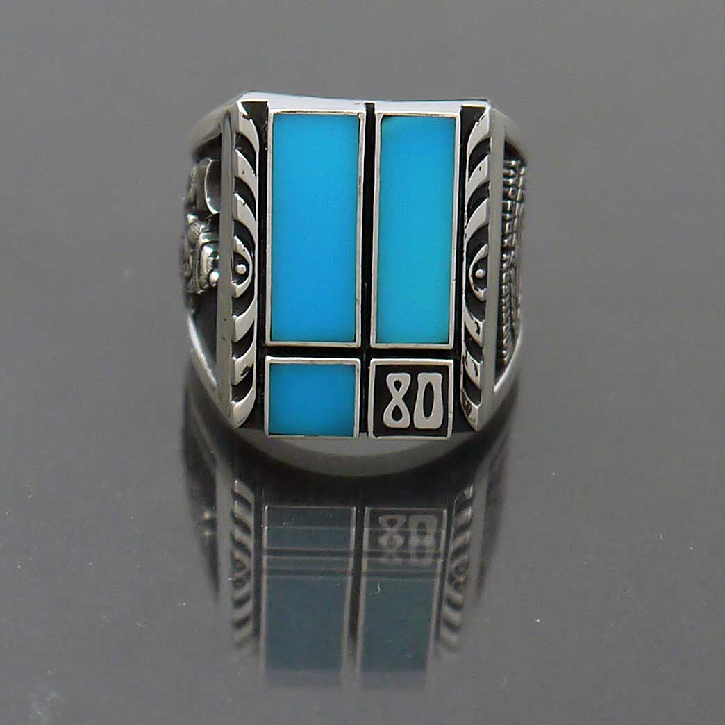 sterling silver inlay turquoise class ring nau quot 80