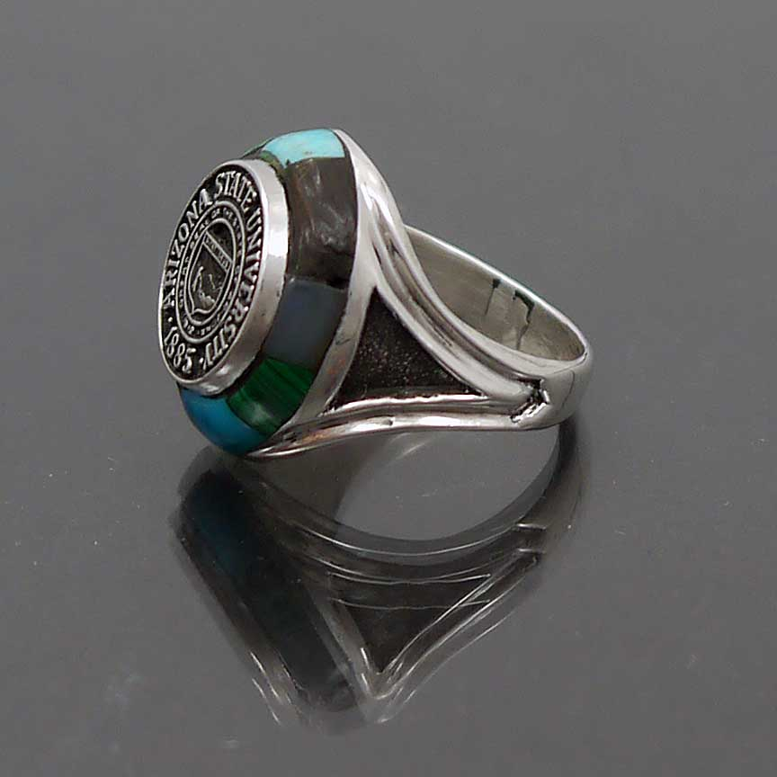 sterling silver inlay arizona state class ring