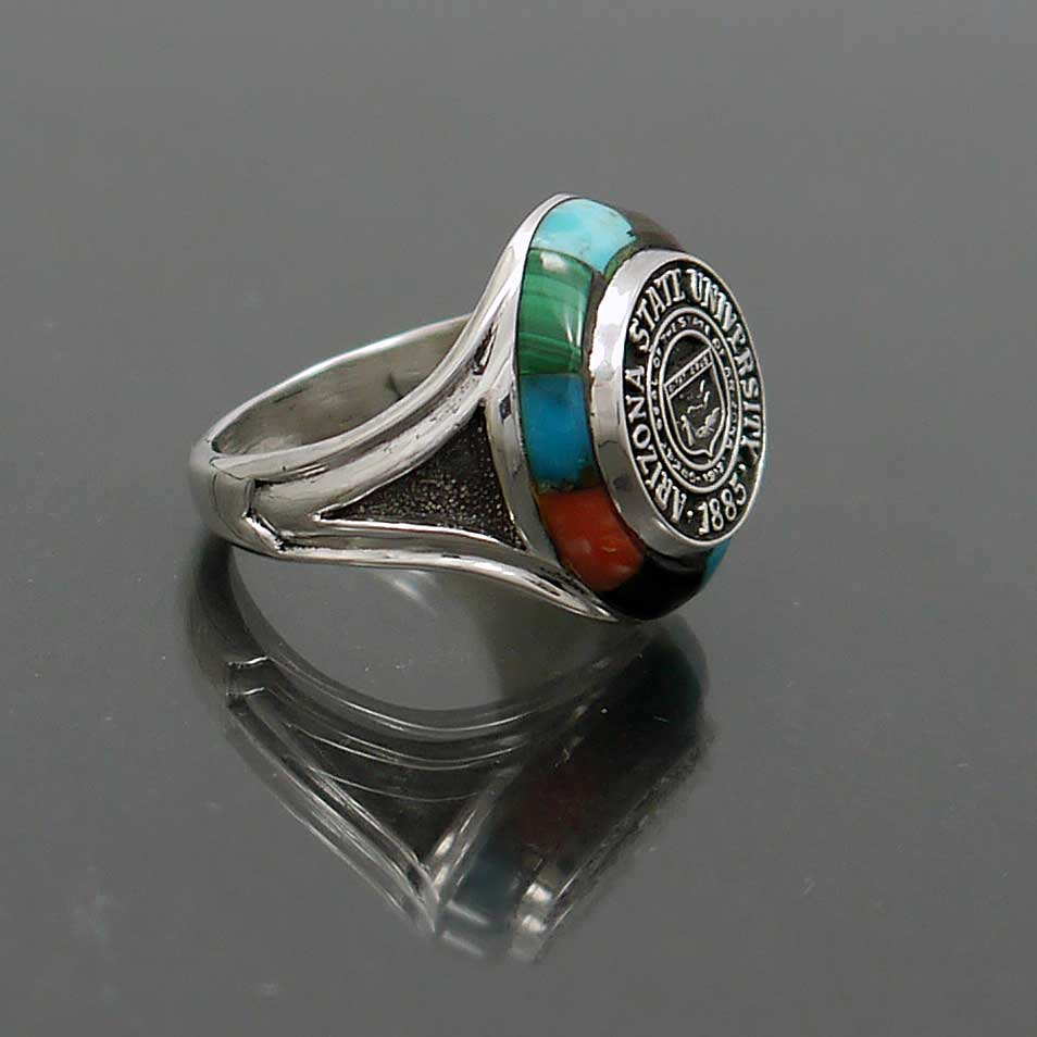 sterling silver inlay arizona state university class ring